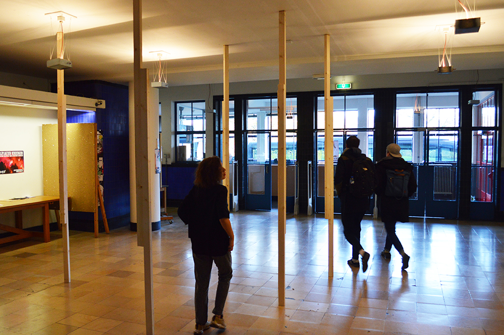 Installation by wooden beams Work commissioned by studium generale Collaboration with Werner Konings